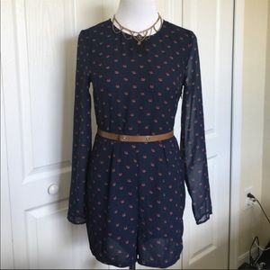 H&M navy blue with sheer sleeve with cute red fox